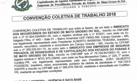 CCT das Seguradoras com PLR –  MS – 2018