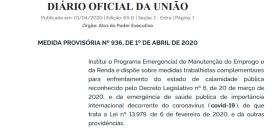 MEDIDA PROVISÓRIA Nº 936, DE 1º DE ABRIL DE 2020